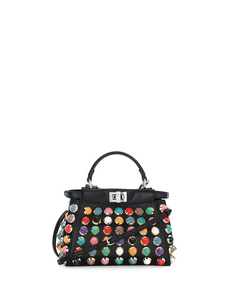 Fendi Peekaboo Mini Studded Satchel Bag, Black Multi