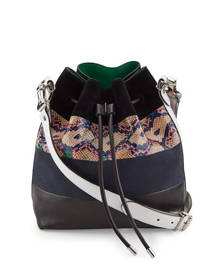 Medium Snakeskin-Striped Leather Bucket Bag, Black/White