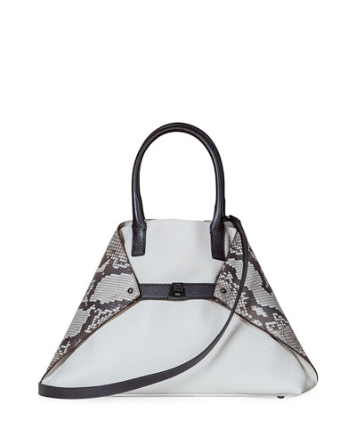 Ai Small Python & Leather Top Handle Bag