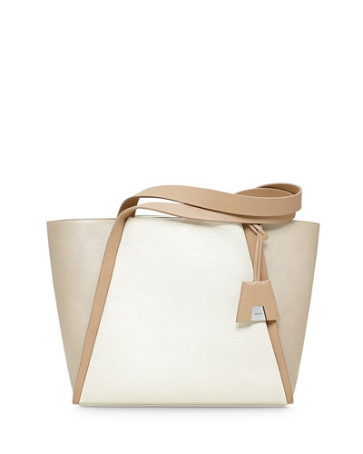 Alex Tricolor Bucket Tote Bag, Ivory