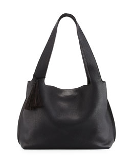 Duplex Calfskin Hobo Bag, Black