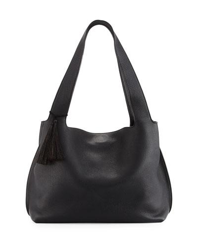 Duplex Calfskin Hobo Bag, Black