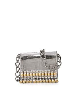 Beaded Chain Crocodile Shoulder Bag, Anthracite/Multi