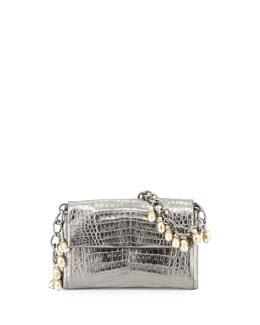 Metallic Crocodile Shoulder Bag w/Fringe Strap, Anthracite