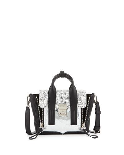Pashli Mini Mixed-Texture Satchel Bag, Silver/Black/White