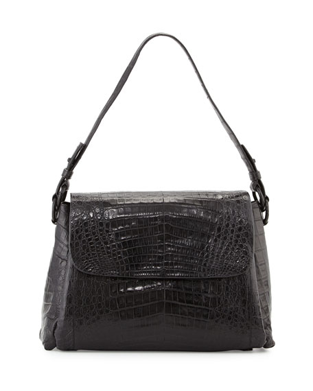 LARGE CROC SHOULDER BAG