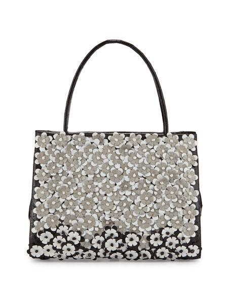 Floral-Embellished Crocodile Tote Bag, Black/White/Gray