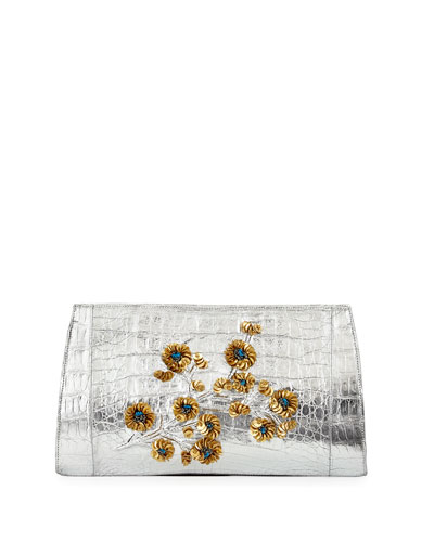 Floral-Embroidered Metallic Crocodile Clutch Bag, Silver