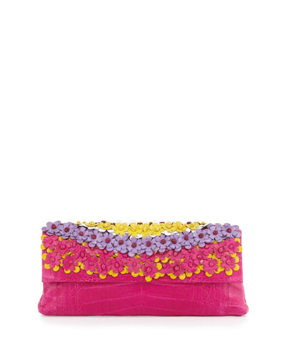 Floral Crocodile Clutch Bag