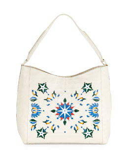 Laser-Cut Taj Mahal Crocodile Hobo Bag, Multi