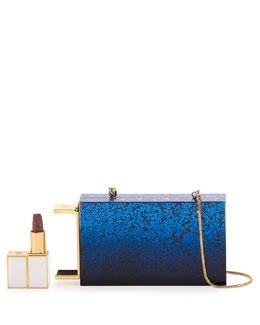 Glittered Plexiglass Lipstick Box Clutch Bag