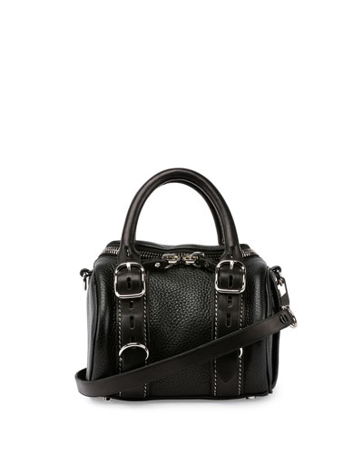 Mini Rockie Pebbled Leather Satchel Bag, Black