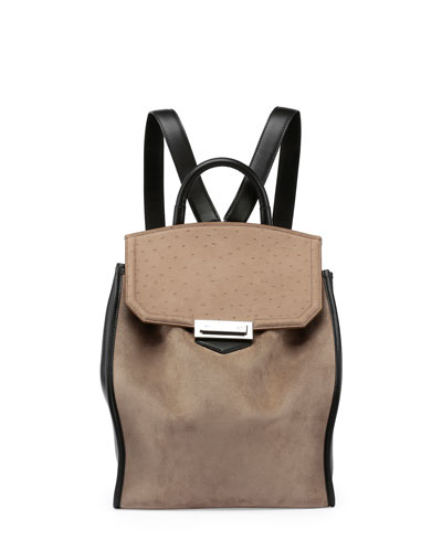 Prisma Suede Flap-Top Backpack, Taupe