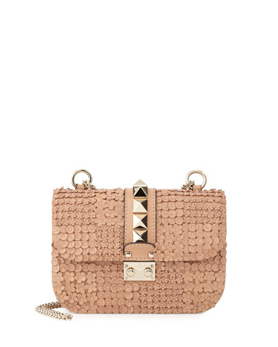 Floral-Embellished Small Lock Shoulder Bag, Skin Sorbet