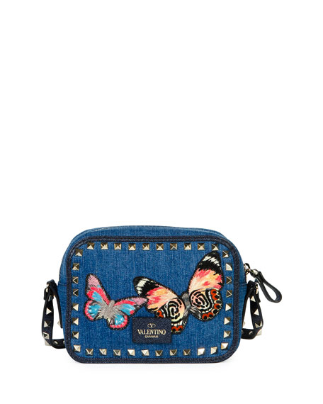 Rockstud Denim Butterfly Camera Bag