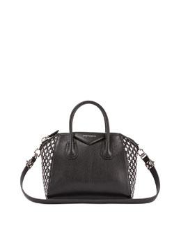 Antigona Woven Leather Satchel Bag, Black/White