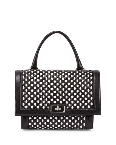 Shark Small Bicolor Woven Satchel Bag, Black/White