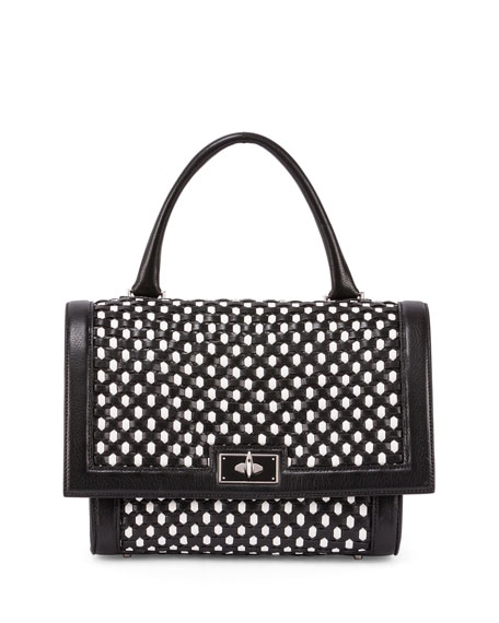 Givenchy Shark Small Bicolor Woven Satchel Bag, Black/White