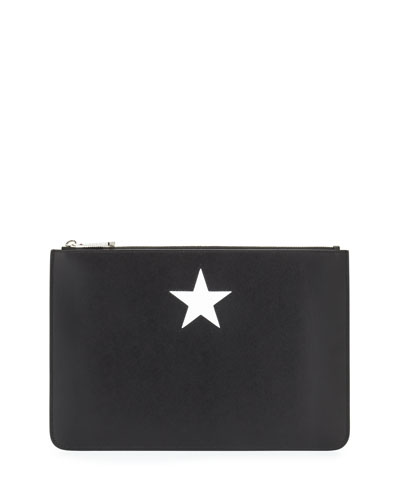 Iconic Smooth Leather Star Clutch Bag, Black/White