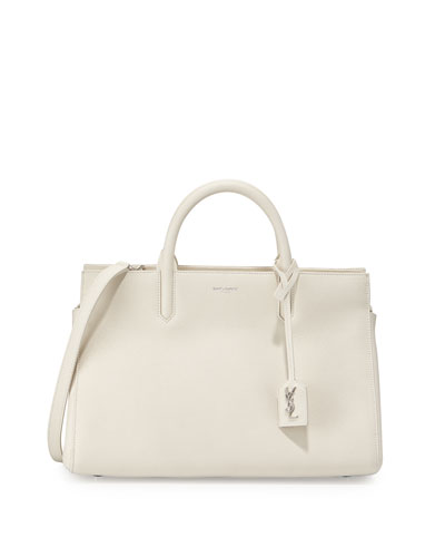 Rive Gauche Small Leather Tote Bag, Blanc Grise
