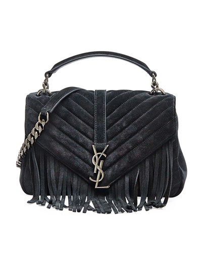 Monogram Fringe College Suede Shoulder Bag, Black (Noir)