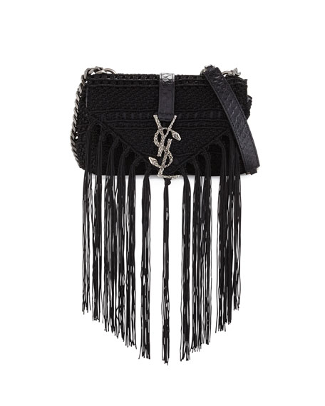 ysl purple shoes - yves saint laurent small monogram - serpent fringe suede crossbody ...