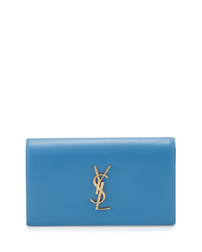 Monogram Calfskin Clutch Bag, Light Blue