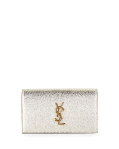 Monogram Grained Serpent Clutch Bag, Pale Gold