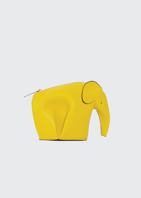 Leather Elephant Coin Purse, Yellow