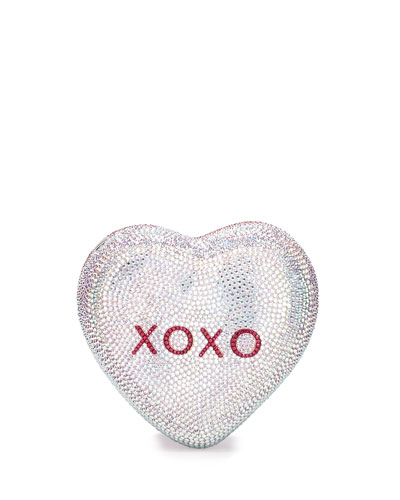 Be Mine Heart Crystal Minaudiere, Pink/Silver Rose