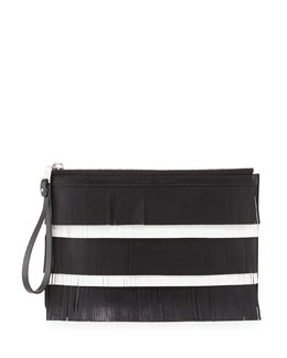 Medium Fringed Leather Zip Pouch Bag, Black/White