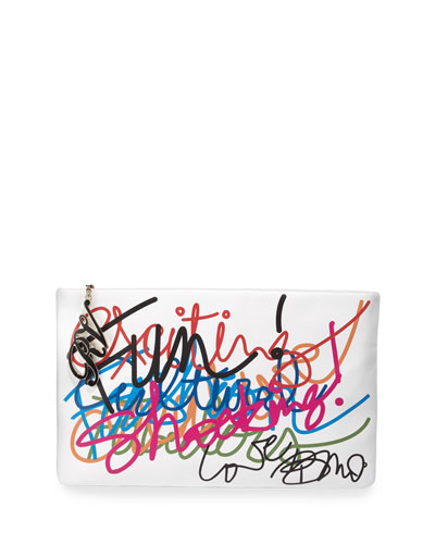 Graffiti Leather Zip-Top Pochette, White