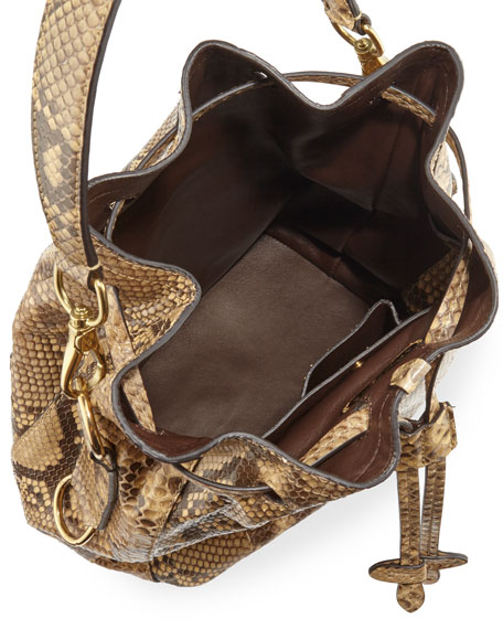 Ralph Lauren Small Ricky Python Bucket Bag, Tan 5ce3a0ded8