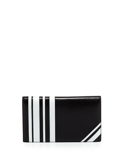 Striped Napa Leather Clutch Bag, Black/White