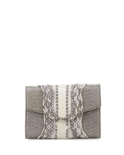 Jolie Watersnake Clutch Bag, Gray/Natural