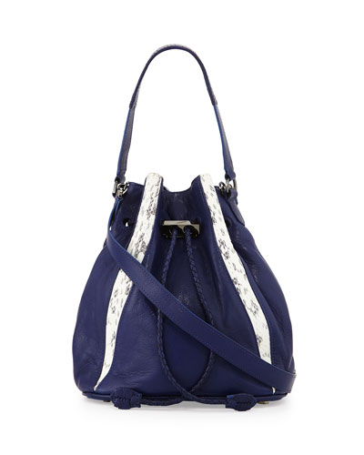 Edem Leather & Watersnake Mini Bucket Bag, Marine