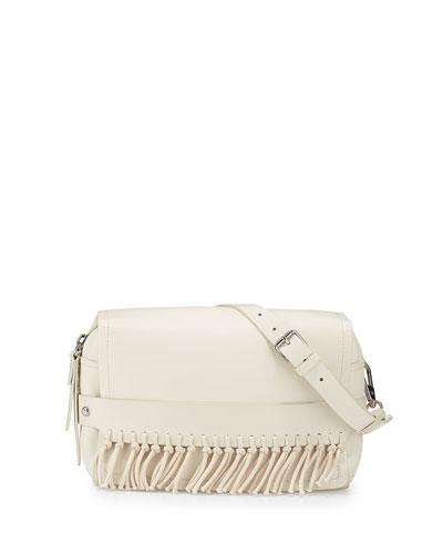Bianca Small Leather Crossbody Bag, Off White