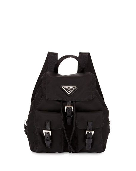 Prada Men\u0026#39;s Leather Double-Buckle Backpack, Black