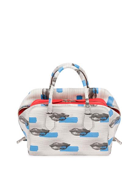 Prada Saffiano Stencil Chain Shoulder Bag, Blue (Azzuro)