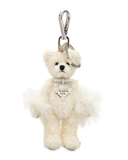 Swarovski® Crystal Teddy Bear Charm for Handbag, White (Bianco)