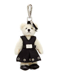 Fuzzy Teddy Bear Charm for Handbag, White (Bianco)