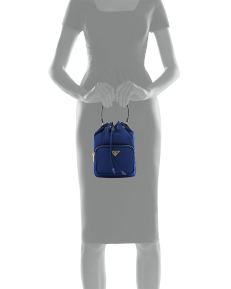 prada tessuto baby bag - Prada Tessuto Mini Bucket Crossbody Bag