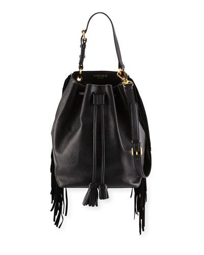Prince Fringed Leather Bucket Bag, Black