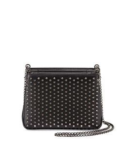 Triloubi Small Studded Leather Shoulder Bag, Black/Gunmetal