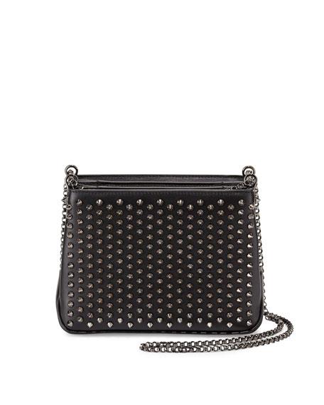 06addc589e5 Triloubi Small Studded Leather Shoulder Bag Black/Gunmetal