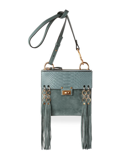 Chloe Jane Small Suede \u0026amp; Python Shoulder Bag, Light Blue