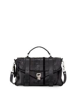 Exotic-Striped Medium Shoulder Bag, Black