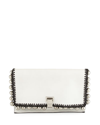 Small Lunch-Bag Leather Clutch Bag, White/Silver