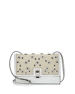 Small Studded Linen Lunch Bag-on-a-Strap, Natural