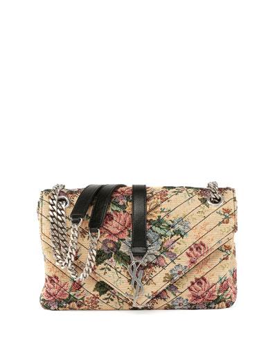 Monogram Floral Jacquard Shoulder Bag, Beige
